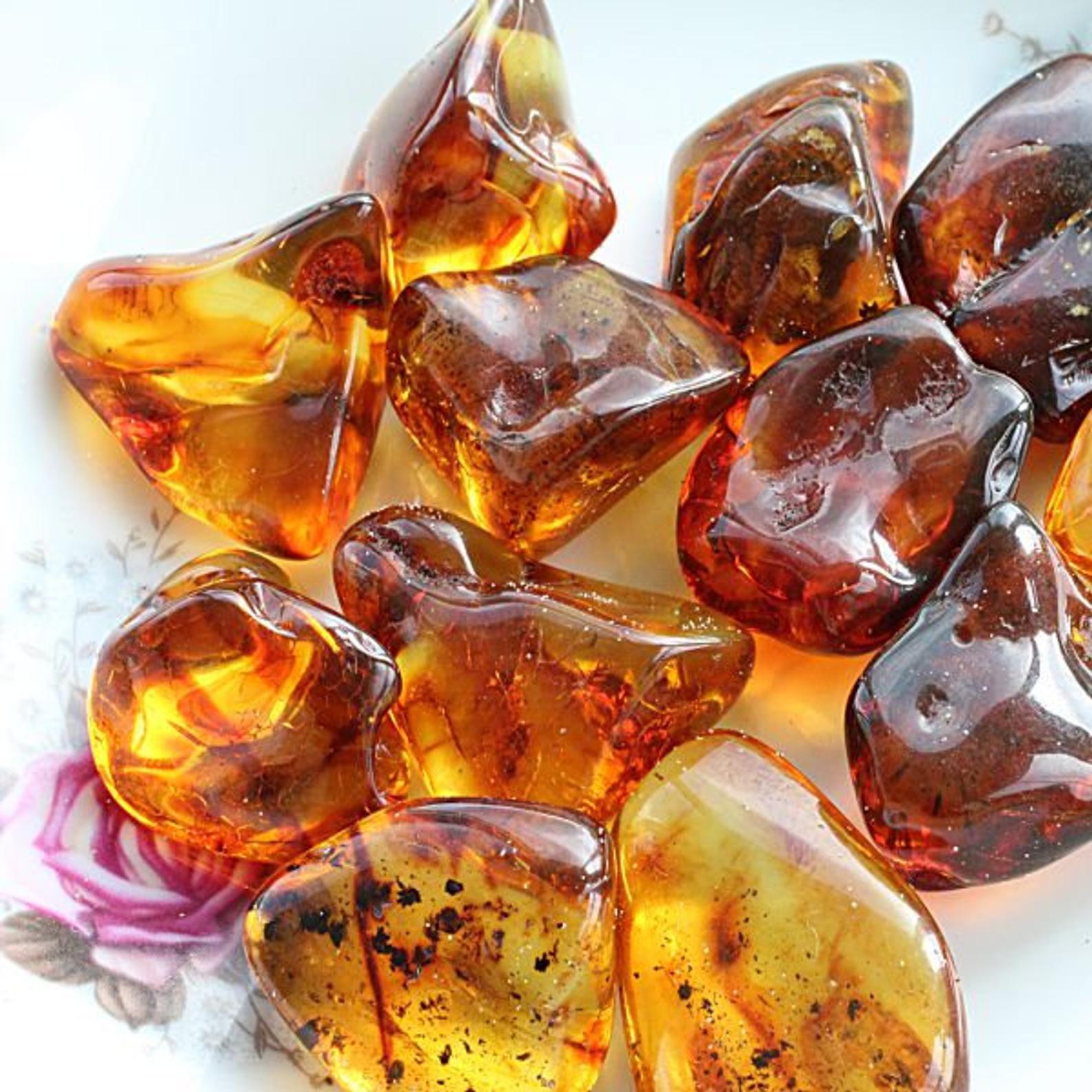 healing crystals, Amber Tumbled Stone
